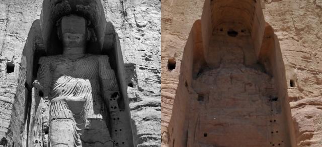 bamiyan buddha prima e dopo distruzione