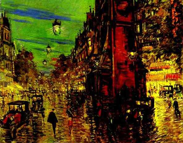 Parigi di notte dipinto